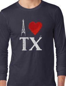 I Heart Texas (wht, remix) by Tai's Tees Long Sleeve T-Shirt