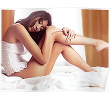 Young asian woman sitting in lingerie on a bed art photo print Poster