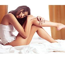 Young asian woman sitting in lingerie on a bed art photo print Photographic Print