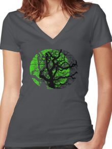 MOON TREE Women's Fitted V-Neck T-Shirt