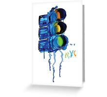 NYC Painted Traffic Light Greeting Card