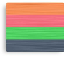 Brush Stroke Stripes: Peach, Rose, Spring Green and Steel Blue Canvas Print