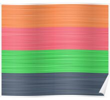 Brush Stroke Stripes: Peach, Rose, Spring Green and Steel Blue Poster