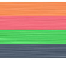 Brush Stroke Stripes: Peach, Rose, Spring Green and Steel Blue Photographic Print