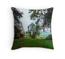 Looking across the Yard to the Distant Mountains Throw Pillow