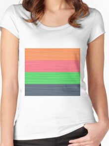 Brush Stroke Stripes: Peach, Rose, Spring Green and Steel Blue Women's Fitted Scoop T-Shirt
