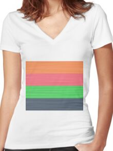 Brush Stroke Stripes: Peach, Rose, Spring Green and Steel Blue Women's Fitted V-Neck T-Shirt