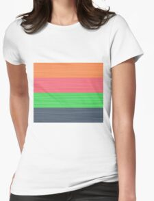 Brush Stroke Stripes: Peach, Rose, Spring Green and Steel Blue Womens Fitted T-Shirt