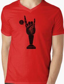 All Black Rock 'n Roll Barista Mens V-Neck T-Shirt