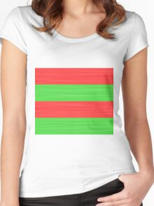 Brush Stroke Stripes: Red and Green Women's Fitted Scoop T-Shirt
