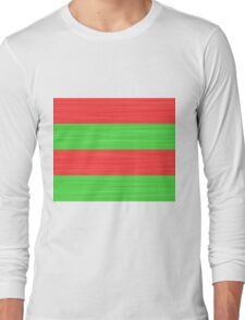 Brush Stroke Stripes: Red and Green Long Sleeve T-Shirt