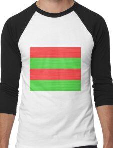 Brush Stroke Stripes: Red and Green Men's Baseball ¾ T-Shirt