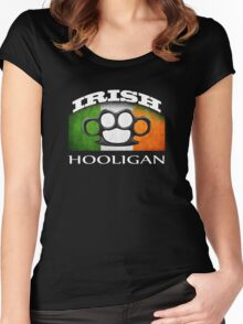 irish hooligan flag brass knuckles Women's Fitted Scoop T-Shirt