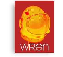 Wren - Space Helmet White Lettering Canvas Print