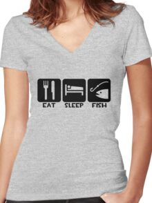 Eat, Sleep, Fish Women's Fitted V-Neck T-Shirt