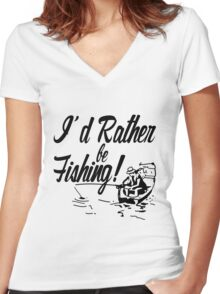 Rather Be Fishing Women's Fitted V-Neck T-Shirt