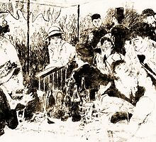 "Trace Monotype after Renoir's ""The Luncheon Of The Boating Party"" by Antony R James"