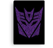 Transformers Decepticons Purple Canvas Print