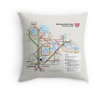 Walt Disney World Transportation as a Subway Map Throw Pillow