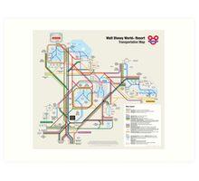 Walt Disney World Transportation as a Subway Map Art Print