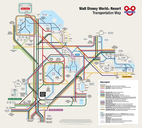 Walt Disney World Transportation as a Subway Map by Arthur de Wolf