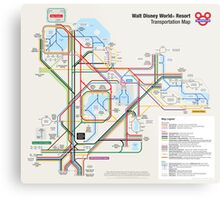 Walt Disney World Transportation as a Subway Map Metal Print
