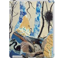 Blue Heron Torn Paper Collage iPad Case/Skin