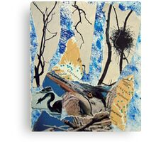 Blue Heron Torn Paper Collage Canvas Print
