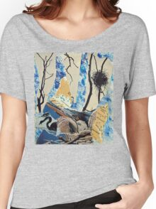 Blue Heron Torn Paper Collage Women's Relaxed Fit T-Shirt