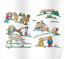 A Rainbow of Love for Our Dogs at the Park Poster