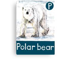 P is for Polar bear Canvas Print