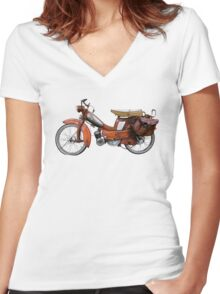 Vintage French Motobecane Moped Women's Fitted V-Neck T-Shirt