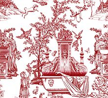 Red Toile Pattern Design by AmazingMart