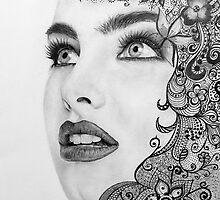 Woman in graphite pencil by Margarete Bom