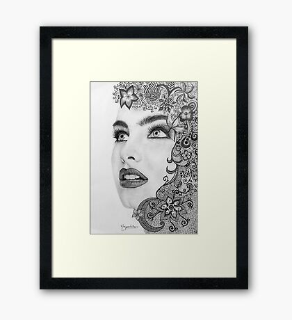 Woman in graphite pencil Framed Print