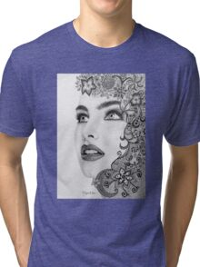 Woman in graphite pencil Tri-blend T-Shirt