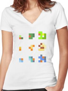 starters pokemon 3rd gen 8bits Women's Fitted V-Neck T-Shirt