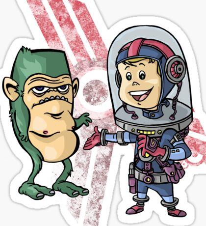 SpaceKid and Shortstack Scroggins of Planet Miniscule 4 Sticker