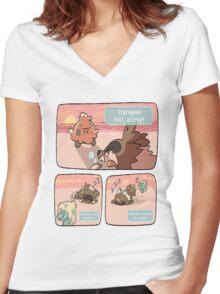 pokemon funny scene Women's Fitted V-Neck T-Shirt