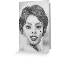 Sophia Loren in Graphite Pencil Greeting Card