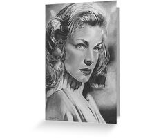 Lauren Bacall in Graphite Pencil Greeting Card