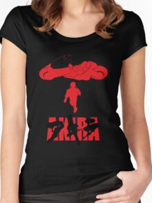 Akira Red on Black Women's Fitted Scoop T-Shirt