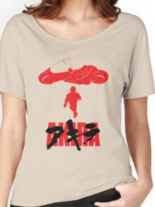 Akira Red on Black Women's Relaxed Fit T-Shirt