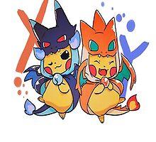 pikachu as mega-charizard x and y by peekacho