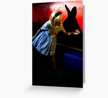 Chasing the white rabbit. Greeting Card