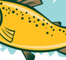 Brown Trout Jumping Circle Cartoon Sticker