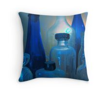 Pickles, Whiskey and Wine In Blue Throw Pillow