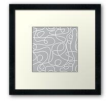 Doodle Line Art | White Lines on Silver Gray Background Framed Print