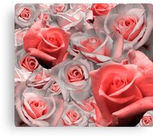 Pink & White Rose Cluster (Possible Valentine) Canvas Print
