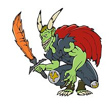 Demon Wield Fiery Sword Cartoon by patrimonio